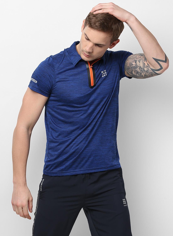 Buy Rock Blue Self Design Swift Dri Zipper Polo T Shirt Online In